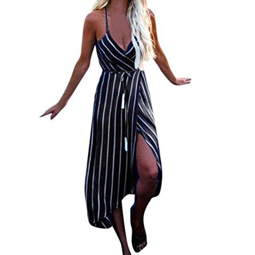 Makaor Vestido de Verano para Mujer, con Diseño de Rayas Maxi, para Fiestas, Playa, Vestido, Cinturón de Vestir, Negro,...