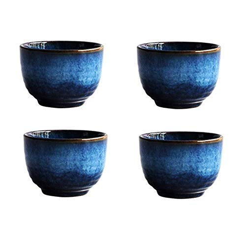 (Blue Ceramic Cups Set 5oz, KBNI Pack of 4 Traditional Flambed Glazed Pottery Blue Teacups Handcraft Porcelain Mugs Set)