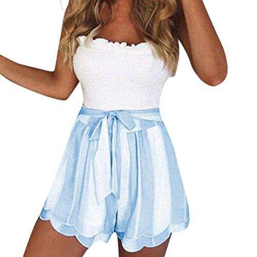 Pants Petal - Elogoog Hot Sale 2018 Women's Casual Elastic Waist Striped Petal Fashion New 2018 Summer Beach Shorts (Light Blue, L)