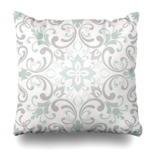 Ahawoso Throw Pillow Covers Flower Modern Damask Pattern Abstract Green Tiled Arabesque Geometric Turquoise Arabic Baroque Floor Home Decor Sofa Pillowcase Square Size 18 x 18 Inches Cushion Case