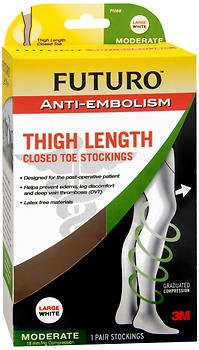 FUTURO Graduated Compression Anti-Embolism Stockings, Thigh Length, Closed Toe, Large Regular, - Anti Stockings Toe Embolism