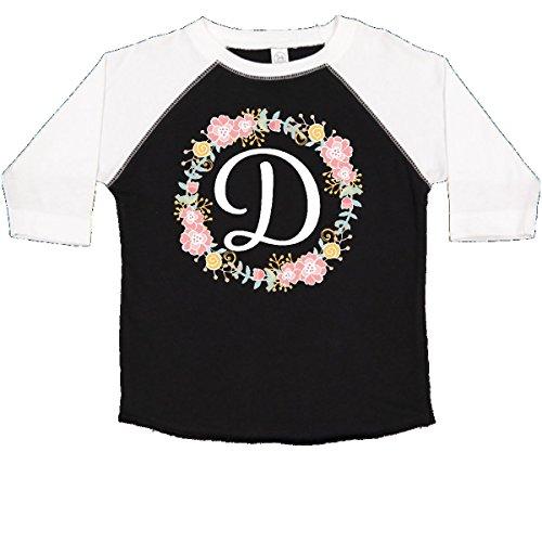 inktastic - D Monogram Alphabet Letter Toddler T-Shirt 2T Black and White 309b1