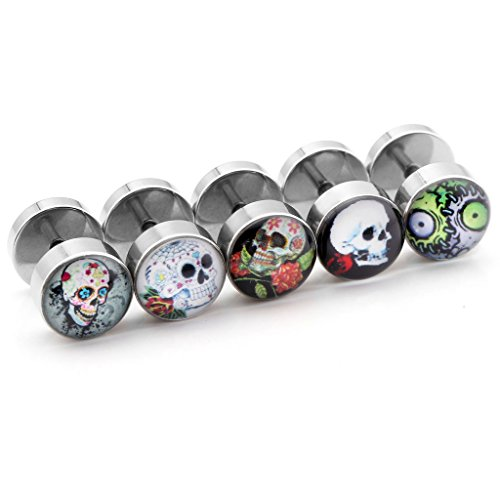 JOVIVI 10pc Lot Assorted Stainless Steel Fake Ear Plugs Set Screw Stud Earrings, 00G Gauges Look