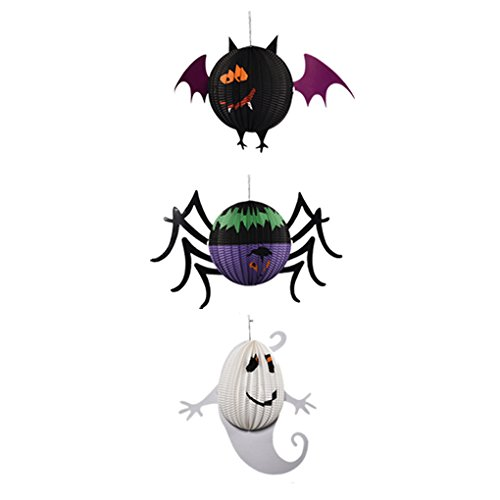 Boger Happy Halloween Paper Hanging Lantern Ghost Hanging Pumpkin Bat Spider Props Paper for Trees Bar DIY Accessory