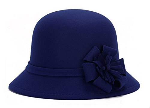 Brcus Women Warm Wool Felt Church Cloche Cap Bucket Hat Bowler Hats With Flower Band Navy