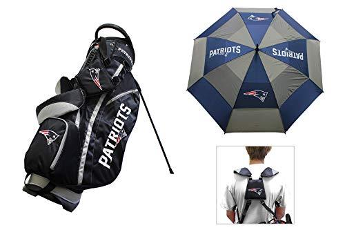 Team Golf New England Patriots NLF Bag & Umbrella Bundle | Includes Fairway Stand Bag, 62