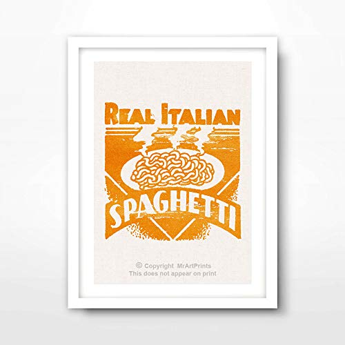 ITALIAN FOOD SPAGHETTI PASTA ITALY ART PRINT Vintage Advertising Illustration Restaurant Cafe Kitchen Home Decor Bright Color Colorful Wall Picture A4 A3 A2 (10 Sizes)