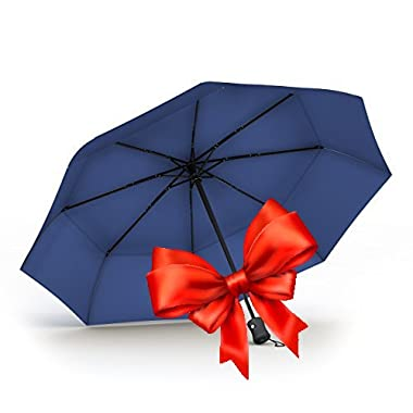 60 MPH Unbreakable Procella Travel Umbrella Windproof Double Vented Canopy Navy Blue
