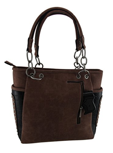 Steer Carry Southwest Shoulder Studded Purse Womens Black Concealed Embroidered Vinyl Handbags Skull 67qUXxgw