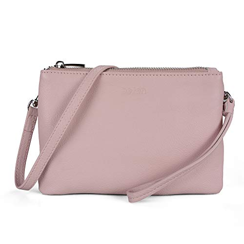 (Befen Women Leather Wristlet Wallet Shoulder Crossbody Bag Clutch Purses with Card Slots - Pink)