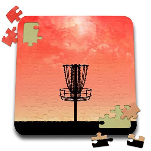 3dRose Perkins Designs - Disc Golf - Silhouette of Frisbee disc Golf Basket with Orange Colored Sky and Clouds - 10x10 Inch Puzzle (pzl_292653_2)