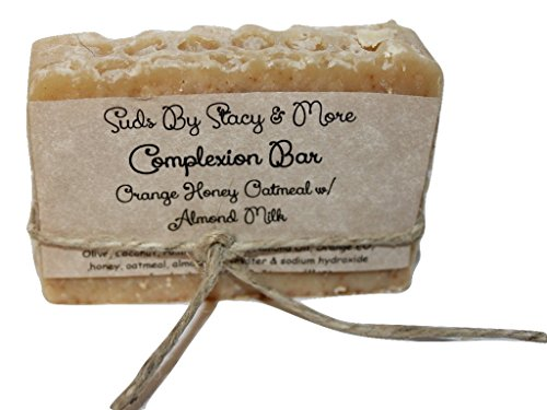 Suds By Stacy and More Complexion Bar (Orange Honey Oatmeal with Almond Milk) Homemade Soap Bar (One 4 oz bar) ()