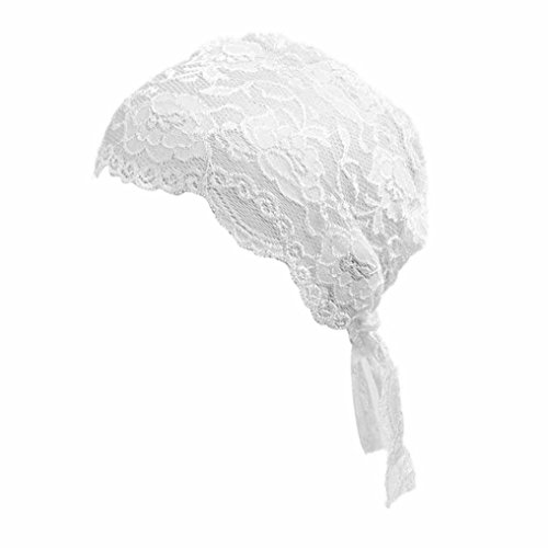 Forestime Fashion Womens Lace Pleated Ruffle Tribal Turban Hat Hair Wrap Cover Up Sun Cap Cancer Chemo Hat Beanie Scarf (White)