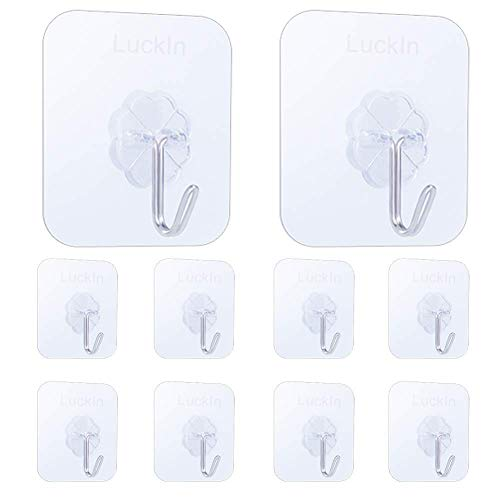 LuckIn Damage Free Hanging Clear Hooks Self Adhesive Tile Hook Heavy Duty 15lb Stick on Wall Hanger Holders, 10pcs