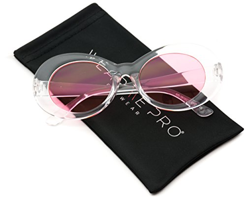 WearMe Pro - Bold Retro Oval Mod Thick Frame Oval Mod Sunglasses Clout Goggles with Color Tinted Round Lens (Clear Frame / Tinted Pink Lens, - Goggles Shades