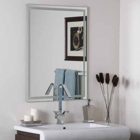 Decor Wonderland SSM13 Houston Super Modern - Frameless Wall Mirror, Etched/Clear -