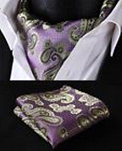 Mondaily DL4016P PuDLle Green Floral Silk Cravat Woven Ascot Hanky Handkerchief Set #PPTE4811 (Diy Plus Size Halloween Costumes)