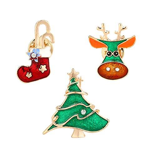 Dolland Multi-Colored Rhinestone Christmas Tree Elk Sock Brooch Pin Combination Badge Brooches