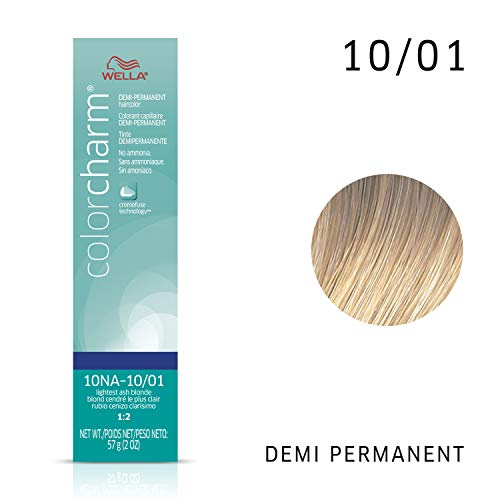 Wella Color Charm Demi Permanent Haircolor 10NA (10/01) Lightest Ash Blonde, 2 oz (Demi Hair Color Blonde)