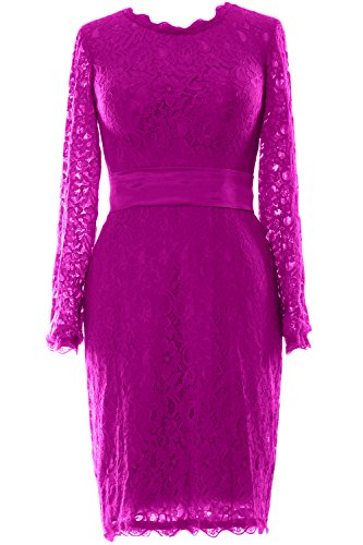 Party MACloth Short Long Fuchsia Wedding Cocktail Women Sleeve Evening Lace Gown Dress rI8Awrq