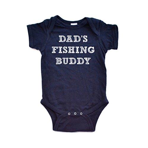 "Dads Fishing Buddy (Apericots Cute ""Dad's Fishing Buddy"" Gender Neutral Infant Baby Short Sleeve Soft Cotton Bodysuit (Newborn, Navy)"