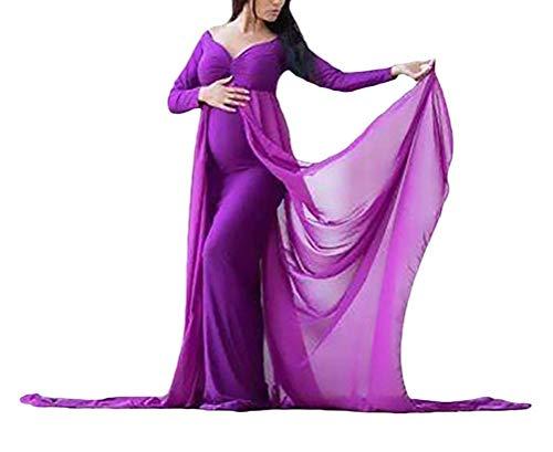 Chiffon Lunghe Abito Gown Langhe Cerimonia Party Sera Dress V Scollo Cocktail Classico De Donna Slim Maternity Boys In Pacchetto Da Ball Maniche Abiti Purple A Marca Mode Festive U00wB6xqr