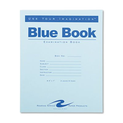 Exam Blue Book, Legal Rule, 8-1/2 x 7, White, 4 Sheets/8 Pages, Sold as 1 Each