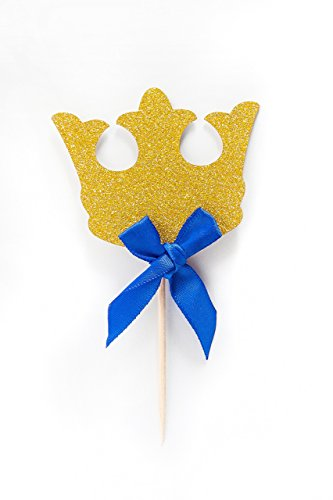 Crown-Cupcake-Toppers-12-Pack-Crown-Boy-Birthday-Party-Cupcake-Topper-Royal-Prince-Baby-Shower-Decorations-Gold-Crown-Cupcake-Toppers-with-Blue-Bow-King-Prince-Baby-Shower-Decorations