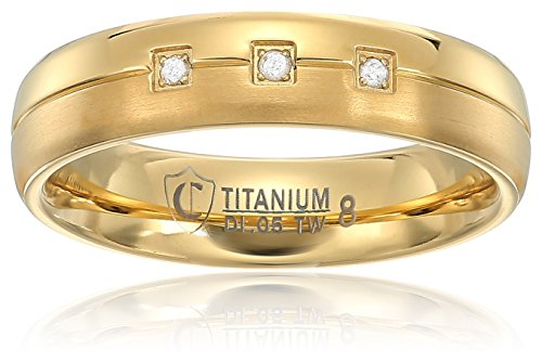 Crucible Jewelry Mens Gold IP Titanium and 0.05 CTW Diamond Dual Finished Grooved Wedding Band (H-I, SI2), Size 9