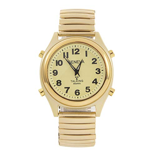 Atomic Geneva Talking Watch Sets Itself with a Touch of a Button! Unisex Gold Stretch Band w/Alarm Speaks time, Day, Date and Year. Great for The Blind, Elderly or Visually impaired - 8421ATM Gold