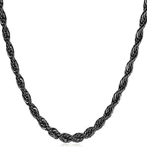 """U7 3mm Thin Chain for Pendant Ion-Plating Black Metal Stainless Steel Twisted Rope Chain Necklace, 22"""""""