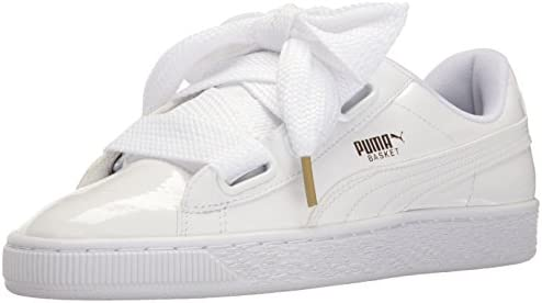 happy life store puma basket Heart patent balck and white