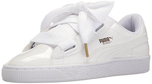 PUMA Women's Basket Heart Patent Wn's Sneaker, White White, 8 M (Heart Sole Sneakers)