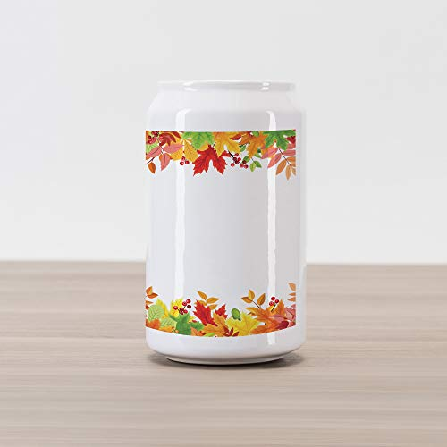 (Lunarable Thanksgiving Cola Can Shape Piggy Bank, Horizontal Frame with Colorful Fall Season Leaves Rowan Borders Foliage Nature, Ceramic Cola Shaped Coin Box Money Bank for Cash Saving, Multicolor)