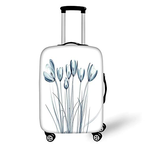 (Travel Luggage Cover Suitcase Protector,Xray Flower,X ray Transparent Image of Tulips Solarized Effects Nature Inspired New Vision Home,Teal White£¬for Travel)