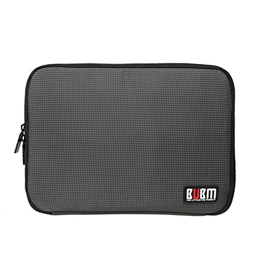 BUBM Double Layer Electronic Accessories Organizer, Travel Gear Bag for Cables, USB Flash Drive, Plug and More, Perfect Size Fits for iPad Mini (Medium, Gray)