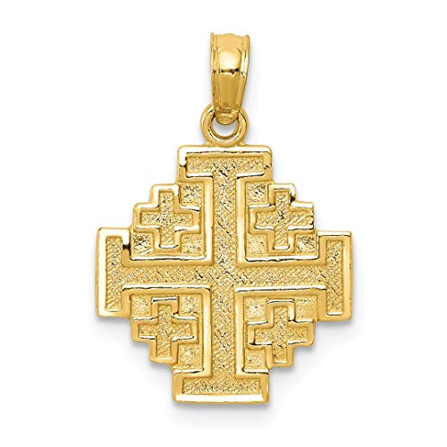 14k Yellow Gold Jerusalem Cross Religious Pendant Charm Necklace Jerum Fine Jewelry Gifts For Women For Her