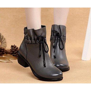 La mujer Confort Botas de cuero cuero Nappa confort informal de primavera gris plana negra Gray