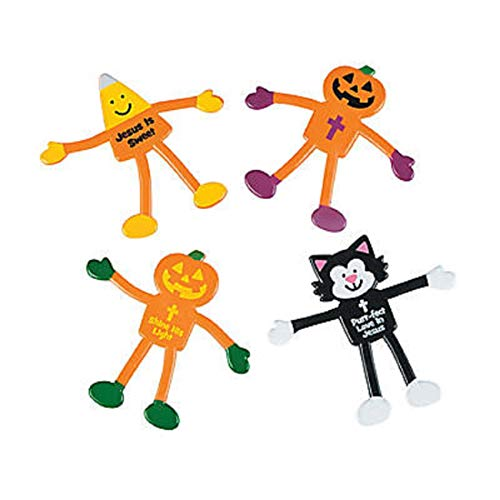 Religious Christian Halloween Bendables, Christian Handouts, Trunk or Treat Ideas, Fall Festival Toys, 24 Pack, Bulk -