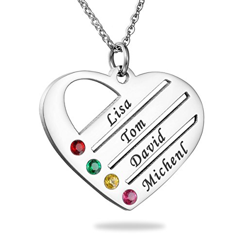 HooAMI Personalized Family Necklace Birthstones Heart Necklace - Custom Made with Any Names (Silver(4 Names)) (Pendant Family Birthstone)