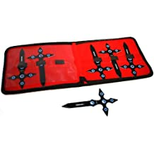 "Set of 6 Black 7"" Throwing Knives With Carrying Case"