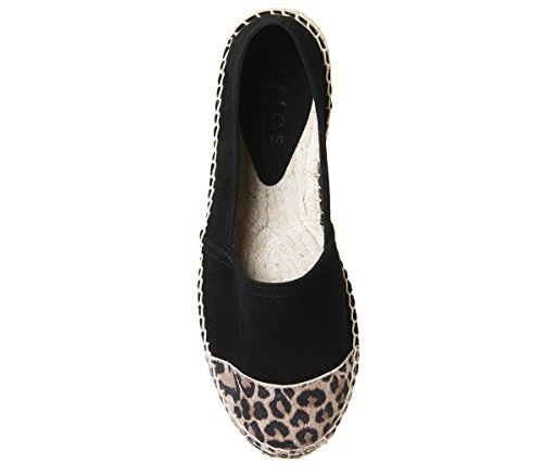 Office Lucky Espadrilles Black Suede With Leopard Toe Cap OjhL4cq