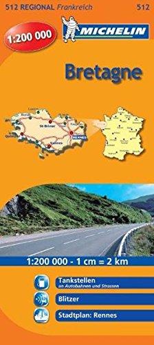 Michelin Bretagne: Straßen- und Tourismuskarte 1:200.000 (MICHELIN Regionalkarten, Band 512)