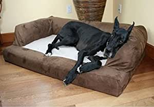 Baxter Couch Microsuede Chocolate Color with Antipill Polar Fleece Seat X-Large