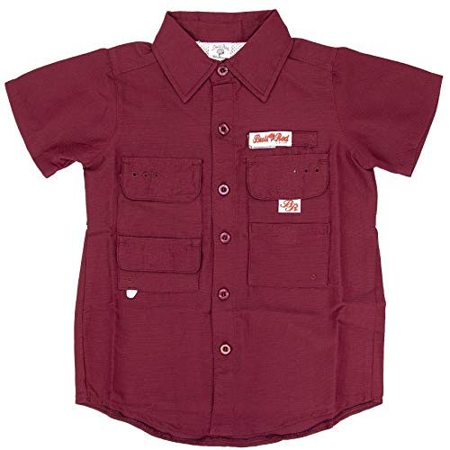 Bull Red Toddlers Maroon PFG Vented Fishing Shirt Button Up, 3T