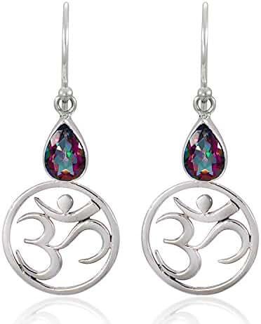 925 Sterling Silver Yoga, Om, Ohm Symbolic w/ Fire Mystic Topaz Dangle Earrings-Nickel Free
