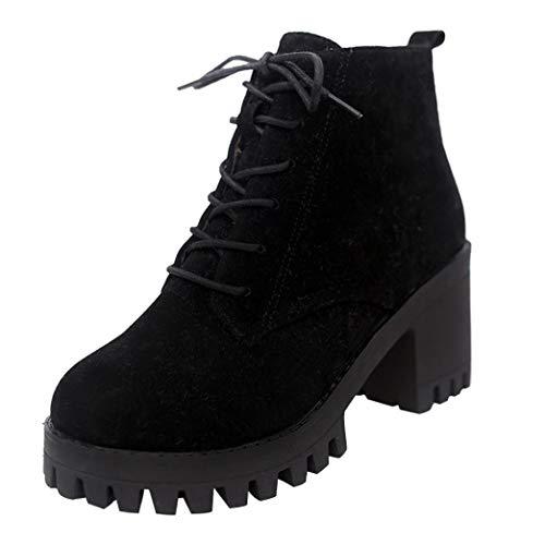 UOKNICE Fashion Women Flock Round Toe Lace-up Non-Slip Leather Boots Block Heel Casual Martin Shoes(Black, CN 37(US 6))