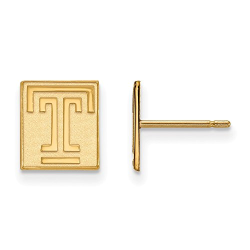 14k Yellow Gold LogoArt Official Licensed Collegiate Temple University (TU) XS Post Earrings by LogoArt
