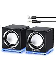 ARVICKA Blue LED USB Speakers- Wired Laptop Speakers 2.0 Channel Small Computer Desktop Speakers for PC, Echo Dot, Updated Version