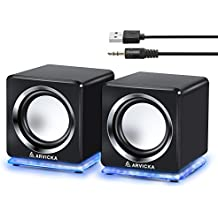 ARVICKA Computer Speaker, LED Accents USB Speaker Small Mighty Solid Wired Multimedia Speaker for PC Desktop Laptop Gaming Smartphones Tablets Projectors TVs, Black
